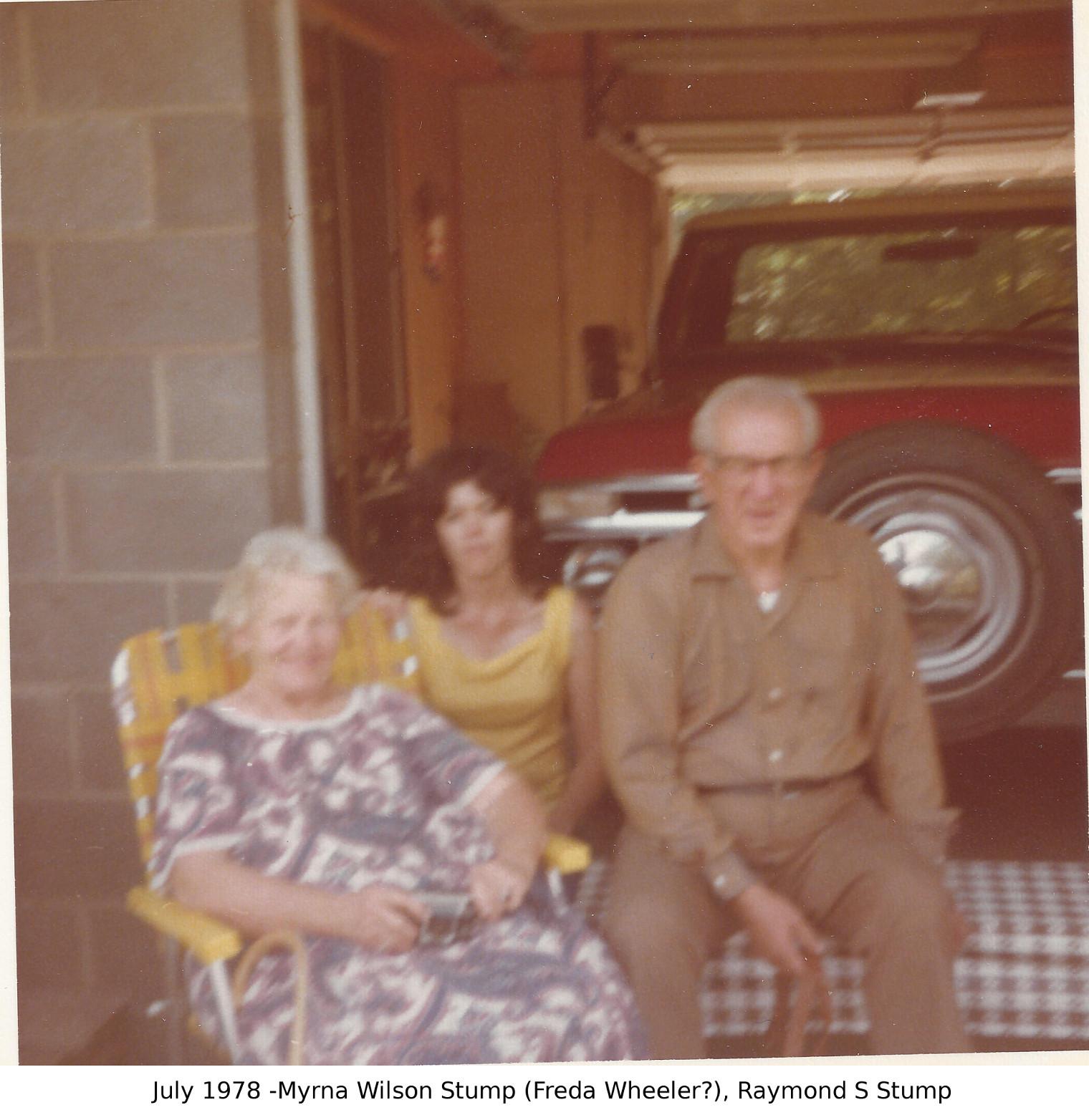 Myrna Wilson Raymond Stump July 1978