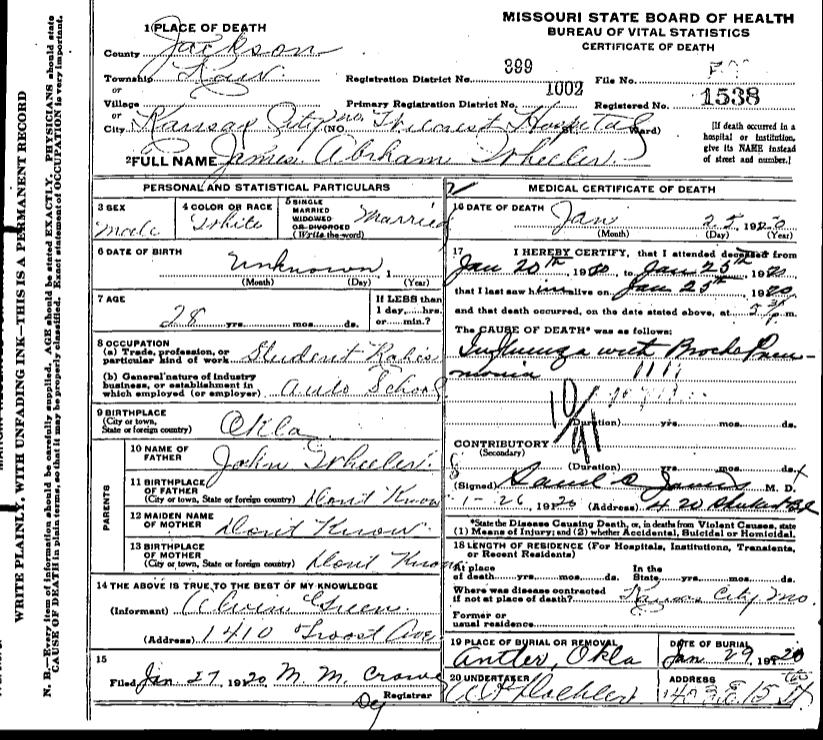 James Abram Wheeler Death Certificate Page 1
