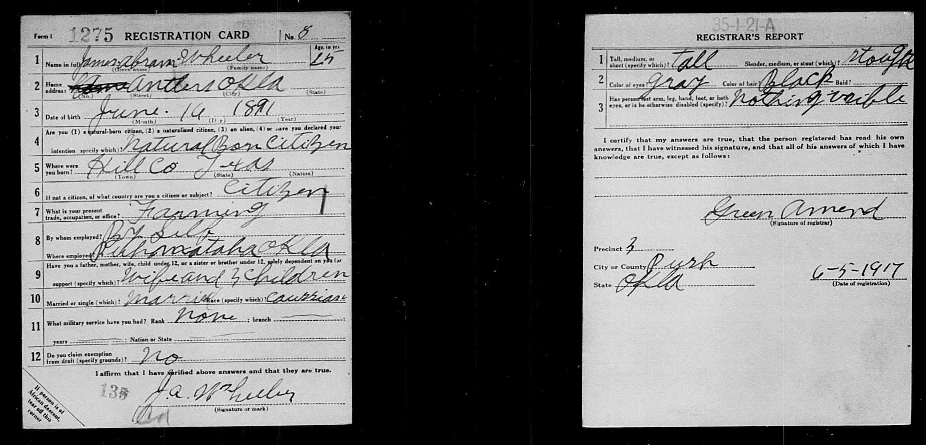 James Abram Wheeler WWI Draft registration